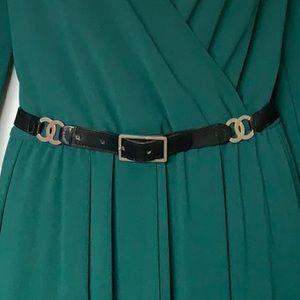 CHANEL Calfskin Double CC Timeless Gold Logo Belt